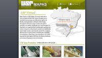 Universidade de São Paulo - Site USP Mapas, mostrando a localização de todas unidades.